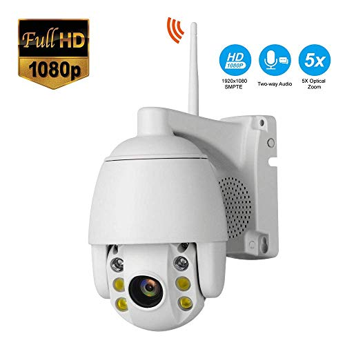 2 miljoen HD Wireless IP Camera 1080P met 5x zoom PTZ Home Security Surveillance Remote Motion Detect Alert Met Two-Way Audio Night Vision, for een kind/Dier/Elder HAOSHUAI