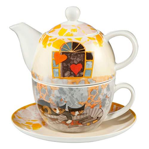 Goebel Amoroso Tea for one Teekanne mit Tasse Rosina Wachtmeister Katze Teetasse Kaffeetasse