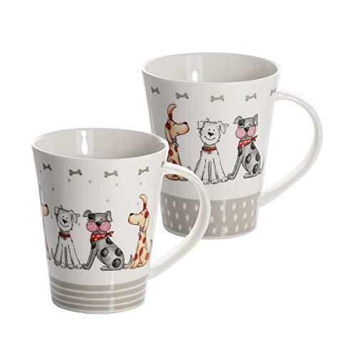 Hund Kaffeebecher Tassen Set 2 Lustig Hunde Kaffeetasse Teebecher Teetassen Keramik Porzellan Hundemotiv Geschenk für Hundeliebhaber Geschenke Hundebesitzer und Hundefreunde