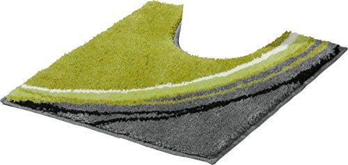 Erwin Müller WC-Umrandung mit Ausschnitt, rutschhemmend grün Größe 50x50 cm - kuscheliger Hochflor, für Fußbodenheizung geeignet