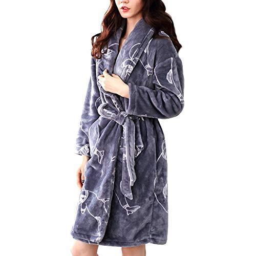 LIULIFE Bata De Mujer Bata De Invierno Espesar Bata De Baño Calzado Largo Kimono Moda Loungewear - con Dos Bolsillos