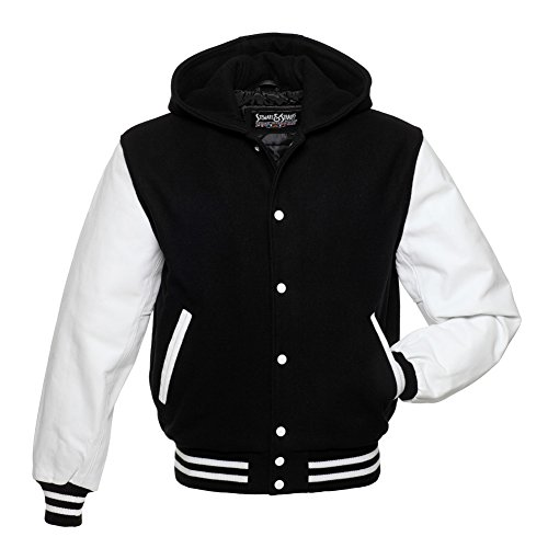 Stewart & Strauss Hoodie Black Wool White Leather Varsity Jacket Letterman Jacket,H301-XL