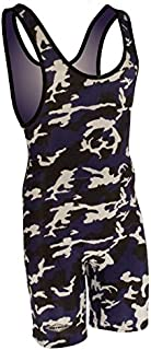 Matman Funky Camo Wrestling Singlet - Purple/White/Black - Mens and Boys