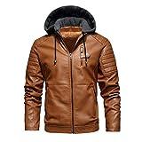 JJWC Chaqueta de cuero for hombre con capucha PU Chaqueta hombres vellón cálido otoño invierno chaquetas de cuero chaquetas (Color : B, Size : 6XL code)