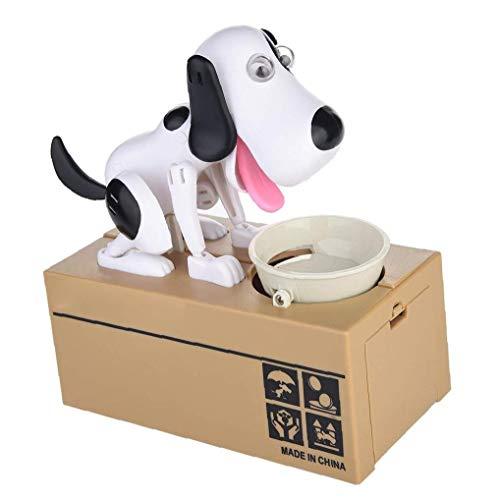 hong Wu Essen Sie Geld Hund Piggy Bank Elektronische Dog Eating-münzen-Bank-münzen-Piggy Bank Robotic Dog Munching Toy Spardose Große Geburtstags-Geschenk Für Junge Kinder Weiß Und Schwarz 1 Packung