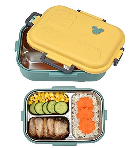 800ml Bento Box, Fiambrera Acero Inoxidable, Fiambrera a prueba de fugas, Reutilizable, Caja de Bento con 3 Compartimentos para niños y Adultos, para la Escuela, el Trabajo, Picnic (verde)