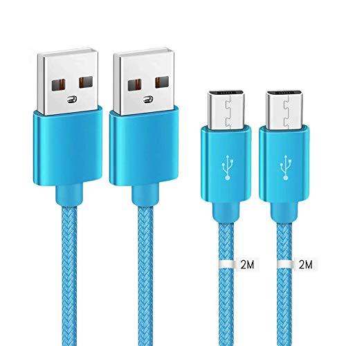 Kit Me Out Kabel Micro USB [2M 2 Stuks] Compatibele met Motorola Moto G5 Plus, 2 Meter [3.1A Snel Opladen] In Sterk Gevlochten Nylon Snel Opladen & Synchronisatiekabel Datakabel Kabel (Lichtblauw)
