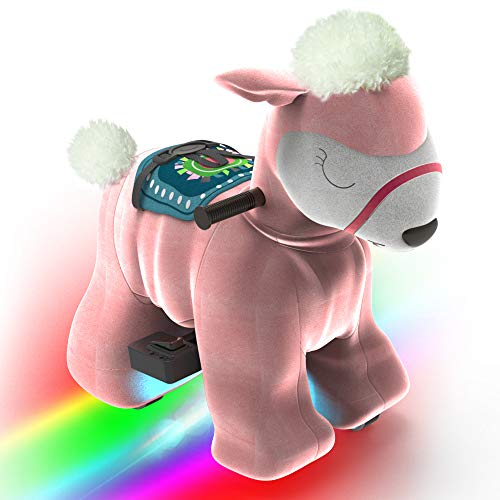 HOVER HEART Rechargeable 6V/7A Plush Animal Ride On Toy with Bottom LED Light for Kids (3~7 Years Old) with Safety Belt (Alpaca Llama)