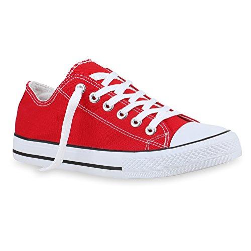 stiefelparadies Herren Sneaker High Basic Schnürschuhe Turnschuhe Freizeit Schuhe 155411 Rot Rot 41 Flandell
