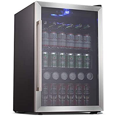 Joy Pebble Beverage Cooler and Refrigerator 126 Can Mini Fridge with Glass Door for Soda Beer or Wine Small Drink Cooler for Home Office or Bar