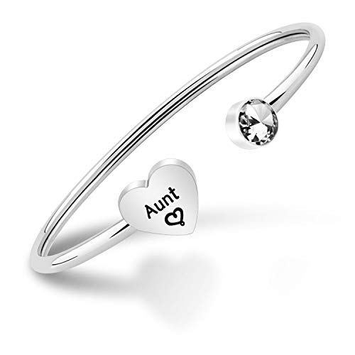 BNQL Aunt Bangle Bracelet Auntie Gifts from Niece Aunt Jewelry Cuff Bracelets for Aunt Auntie gift (Silver)