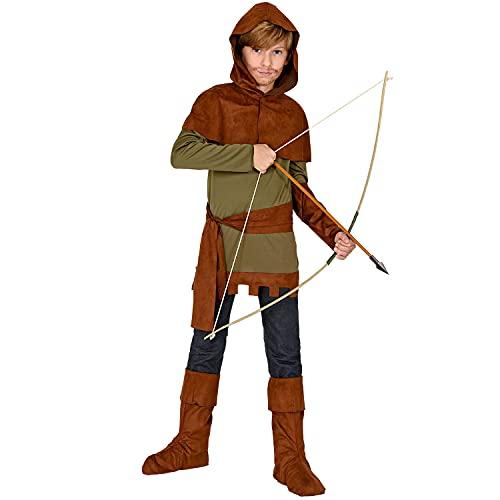 WIDMANN 30067 30067 - Disfraz infantil de Robin of Sherwood, parte superior, protectores de brazos, capa de hombro con capucha, cinturón, cubrebotas, héroe, medieval, multicolor, 140 cm/8-10 años