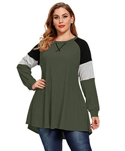 LARACE Plus Size Tops Women Pullover Sweatshirt Color Block Tee Long Sleeve Tunic Striped Raglan Shirt(Army Green M)