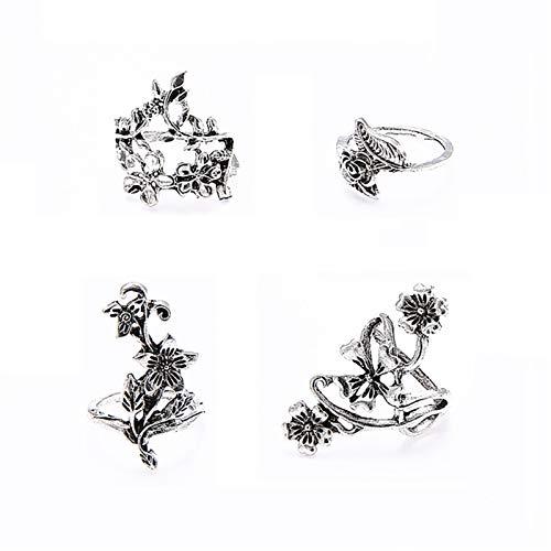 Dheera Conjunto de 4 peças de anéis de flor silvestre, estilo vintage, anel vazado, elegante, individualidade, joia requintada, presente para namorada, mãe, filha