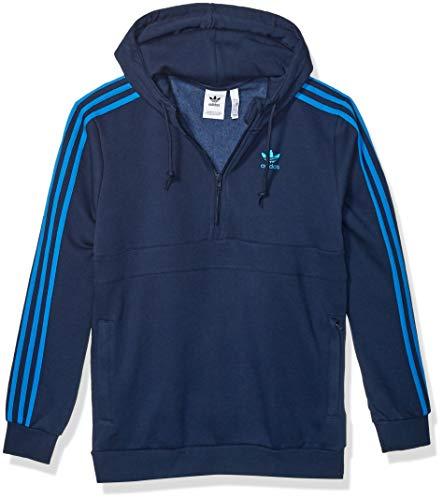 Adidas Originals - Felpa da uomo con mezza zip a 3 strisce - blu - X-Small