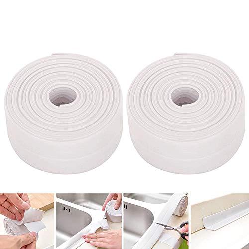 yyuezhi Wasserdicht Anti Feuchtigkeit Küche Dichtband 2 Stück Weiß Wasserdicht Dichtungsband Schimmelbeweis Klebeban Dichtung Klebeban Multifunktional für Küche Badezimmer Toilette Wandecke (Weiß)