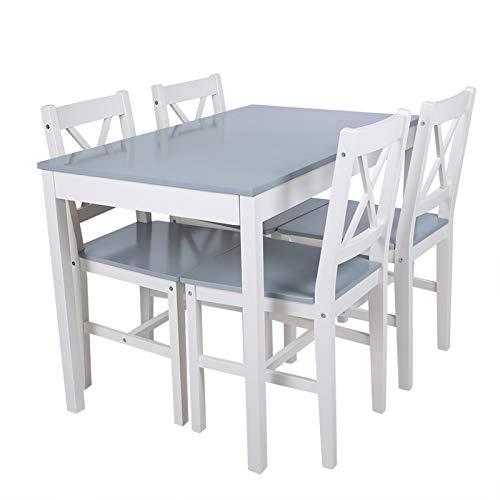 Ejoyous Essgruppe mit 4 Stühlen, Holztisch Esstisch Esszimmertisch Modernes Tischstuhlset für Esszimmer Wohnzimmer Küche 108 * 65 * 73 cm(Grau Blau)