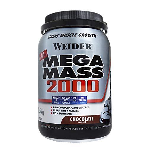 Weider Mega Mass 2000 Sabor Chocolate (1500 g). 67% de hidratos y 16% proteínas. Enriquecido con Vitaminas y Minerales.  Con menos azúcares