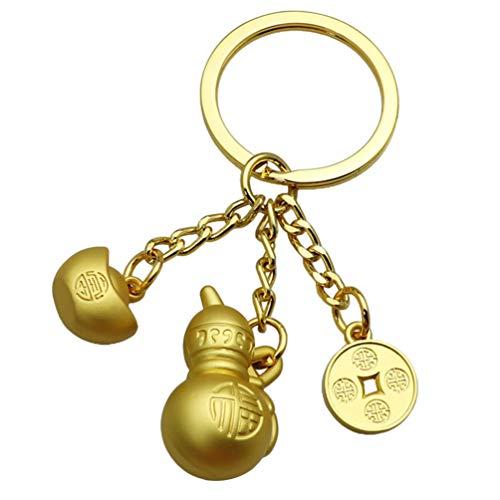 Homoyoyo Llavero de Feng Shui Calabaza de Latón Chino Llavero Wu Lou Llavero de Feng Shui Lingote de Oro Llavero para La Buena Suerte Riqueza Éxito Éxito Fortuna Bendición Amuleto