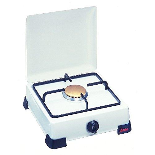 Ardes ZEUS Emaillierter Gaskocher mit Deckel und Grill in emaillierter Platte, Füße weiß 1 Fuoco Bianco