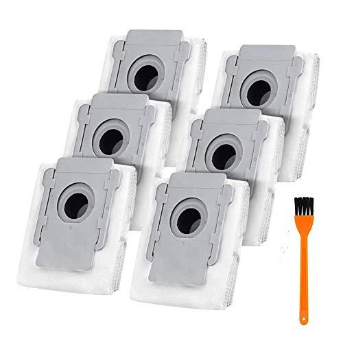 Queta 6Pcs Bolsas de Repuesto para iRobot Roomba i7 i7 + i7 Plus E5 E6 E7 Compatibles con Series I y S Bolsas de Eliminación de Suciedad Automática de Base Limpia, con 1 Cepillo de Limpieza