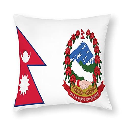 Kissenbezug, Motiv: Flagge von Nepal, quadratisch, dekorativ, für Sofa, Couch, Zuhause, Schlafzimmer, für drinnen & draußen, 45,7 x 45,7 cm
