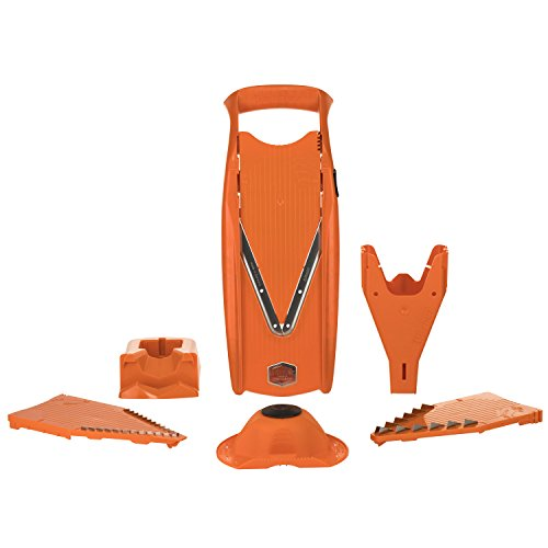 Börner Gemüsehobel V5 Powerline Profi Set orange Gemüseschneider Karottenhobel Kartoffelschneider vegan Edelstahlklingen BPA-frei