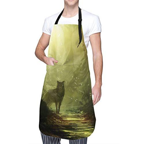 Aeykis Wolf Männer Frauen Latzschürze mit Tasche & verstellbaren Krawatten, Wolfs Blick Küchenchef Schürze Küchenschürze zum Kochen, Backen, Basteln, Gar