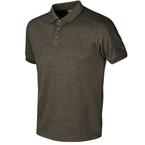 Härkila Tech Poloshirt - Leichtes und dehnbares Polo Shirt für Herren Jagd mit Polygiene® Behandlung - Antibakterielles Sport Shirt Grün für Jäger und Sport , Größe:XL, Farbe:Braun