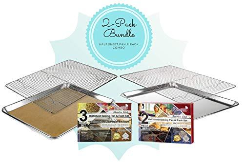 2 Half Sheet Baking Pan and Rack sets PLUS 100 pieces of parchment paper