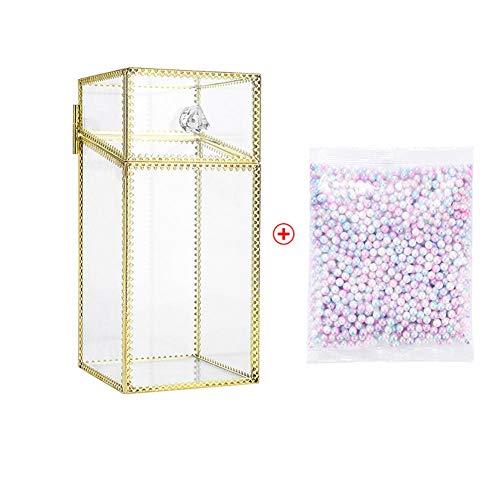 Rinder Organiseur de maquillage en verre avec perles de couleur Doré