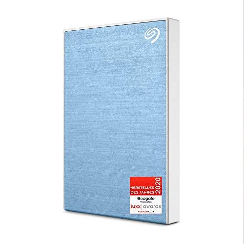 Seagate One Touch, tragbare externe Festplatte 2 TB, PC, Notebook & Mac, USB 3.0, Hellblau, inkl. 2 Jahre Rescue Service, Modellnr.: STKB2000402
