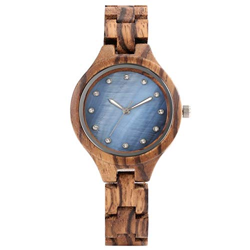 PLUIEX Wooden watch Crystal Rhinestone Women Wooden Watch Ladies Dress Adjustable Wooden Bracelet Watch Quartz Wristwatch Women's Clock,Blue Dial
