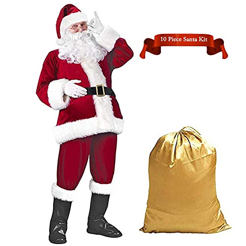 Christmas Adult Santa Claus Costume Set Men's Deluxe Velvet Santa Suit 10 pcs