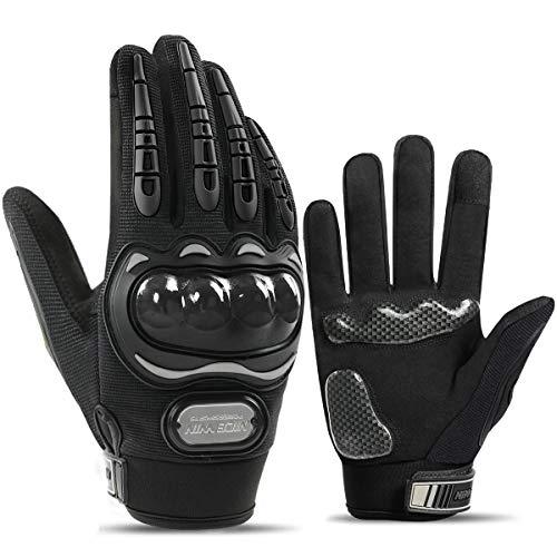 LOHOTEK Motorradhandschuhe-Touchscreen Motorrad-Fahrradhandschuhe Motorradrennen-handschuhe Herren - für Motorradrennen Mountainbike Outdoor Aktivitäten (Schwarz, L)