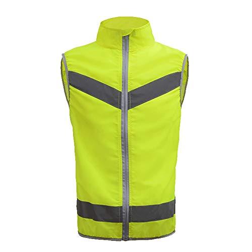 YAYA Warnweste Reflektierende Weste Sicherheitsweste Sport Motorrad Hohe Sichtbarkeit Fluorescent Riding Racing Ärmellose Jacke Moto Gear Sicherheitswesten (Color : Fluorescent Green, Größe : XL-XXL)