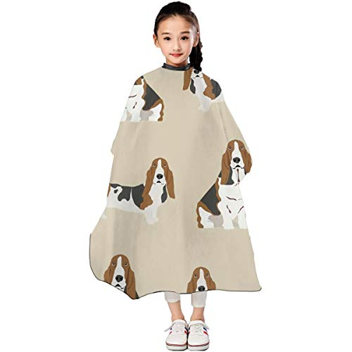 Basset Hound Dog Kids Haircut Apron,Professional Salon Polyester Cape Adjustable Snap,for Hair Cutting Modeling Boys and Girls