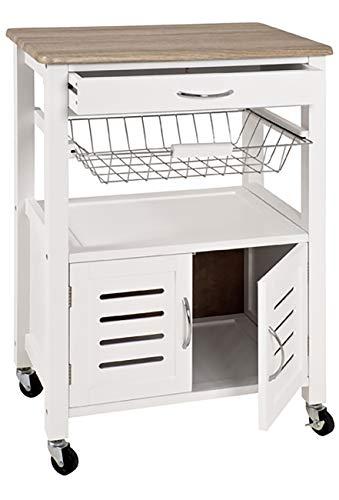 Haku Möbel Küchenwagen - MDF weiß lackiert - Schublade - ausziehbarer Korb 84 cm