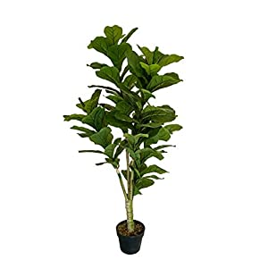 AMERIQUE Gorgeous & Dense 4.5′ Fiddle Leaf Fig Tree Artificial Silk Plant with UV Protection, with Nursery Plastic Pot, Feel Real Technology, Super Quality, Feet, Green