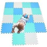 MQIAOHAM 18 piezas alfombra puzzle bebe suelo manta acolchada playa colchoneta eva juguetes y juegos verano bebé productos mantas tapete no toxica infantil bebé niños con blanco azul verde 101107108
