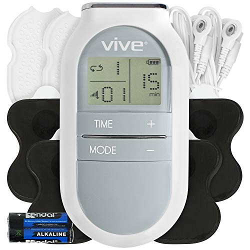 Vive Digital TENs Unit - Portable Muscle Stimulator Electrode Machine Pad Device - Electrotherapy Massager for Neck, Back, Nerve and Sciatica Pain Relief - Personal Electric Home EMS Stim Therapy