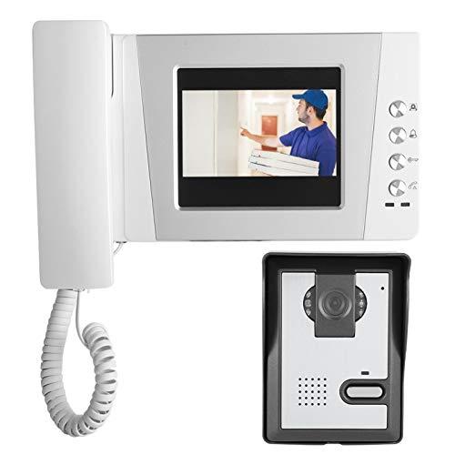 Sistema de puerta de teléfono, 4.3in HD Pantalla colorida Apartamento Videoportero con cable Sistema de entrada con intercomunicador audiovisual(US PLUG)