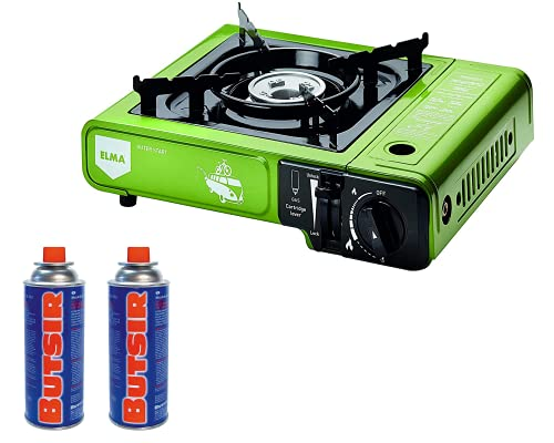 ELMA- Promoción Pack camping gas DUAL verde + 2 cartuchos de gas. Cocina a gas portátil DUAL OUTER START(opción cartuchos y bombona), 2 cartuchos de gas compatibles con el hornillo.