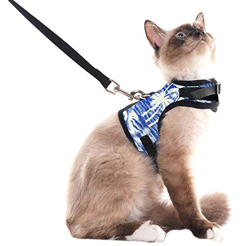 SCENEREAL Escape Proof Cat Harness and Leash - Adjustable Soft Mesh Vest Harness for Rabbits Puppy Kittens Coconut Tree Printing, L
