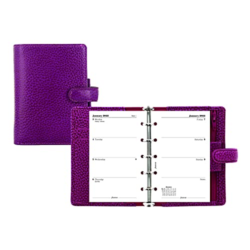 Filofax Finsbury Organizer, Mini Size, Raspberry – Traditional Grained Leather, Five Rings, Week-to-View Calendar Diary, Multilingual, 2022 (C025398-22)