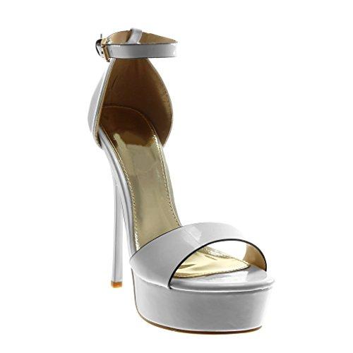 Angkorly - Scarpe Moda Sandali Decollete con Tacco Stiletto Zeppe con Cinturino alla Caviglia Donna Verniciato Tanga Tacco Stiletto Alto 14.5 CM - Bianco 628-48 T 38