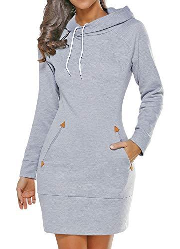 Edjude Sweat Femme à Capuche avec Poche Robe à Manches Longues Pull Léger Décontracté Sweat-Shirt Automne Hiver Gris Clair XL