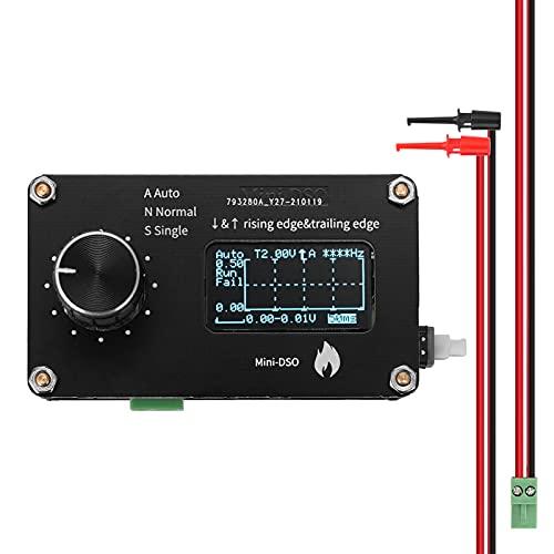 Montloxs Pantalla OLED de 0,96 pulgadas Botón mecánico 250 kHz Frecuencia de muestreo Osciloscopio simple Ajuste de perilla de metal Medición de un solo canal Mini osciloscopio