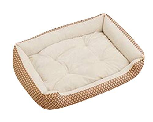 GUOCU Hundebett Hundebett mit Kissen und kuscheligem Plüsch für kleine und große Hunde Weich Futter Abnehmbar Reinigbar Beige W XXL