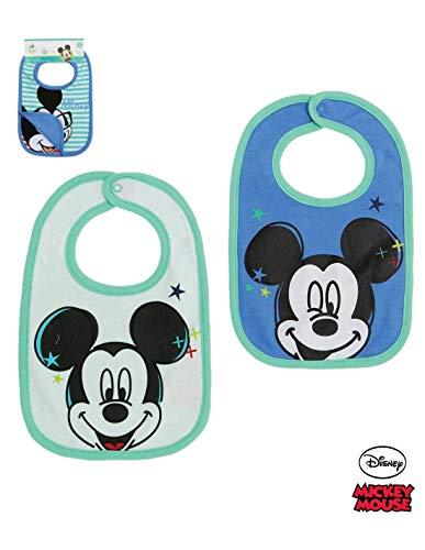 Lot de 2 bavoirs bébé garçon Disney Mickey Blanc et Bleu TU (0 à 6mois) - Blanc/bleu, Taille unique